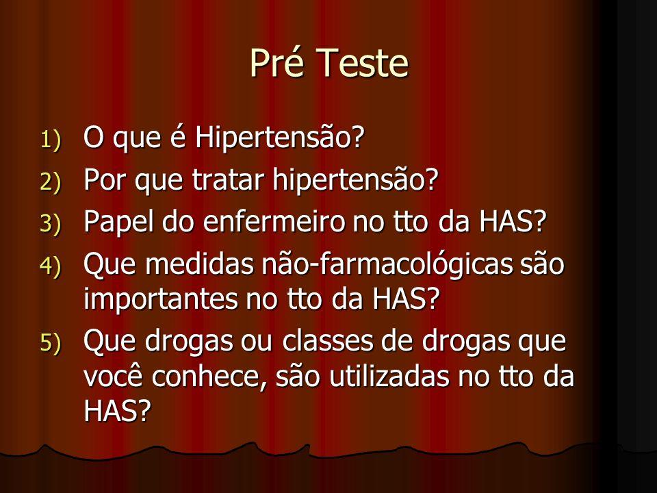 Pré Teste O que é Hipertensão Por que tratar hipertensão