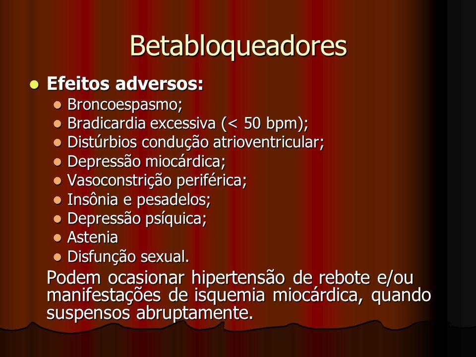 Betabloqueadores Efeitos adversos: