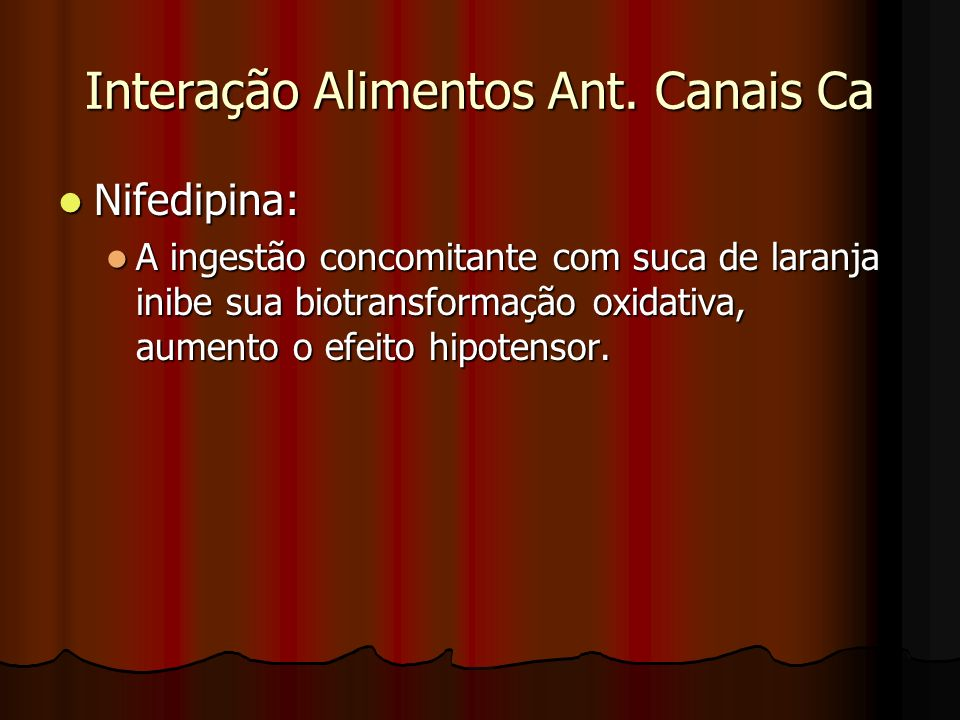 Interação Alimentos Ant. Canais Ca