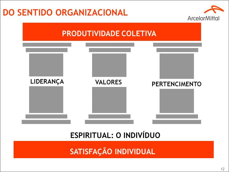 PRODUTIVIDADE COLETIVA ESPIRITUAL: O INDIVÍDUO SATISFAÇÃO INDIVIDUAL