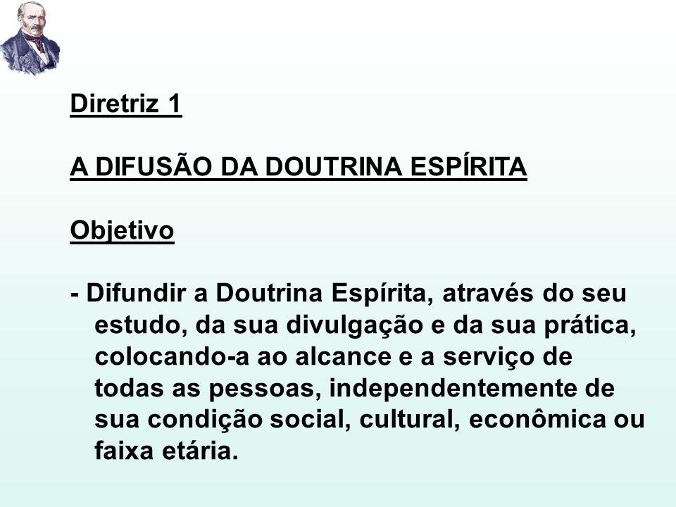 Diretriz 1 A DIFUSÃO DA DOUTRINA ESPÍRITA. Objetivo.