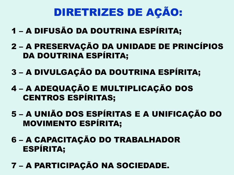DIRETRIZES DE AÇÃO: 1 – A DIFUSÃO DA DOUTRINA ESPÍRITA;