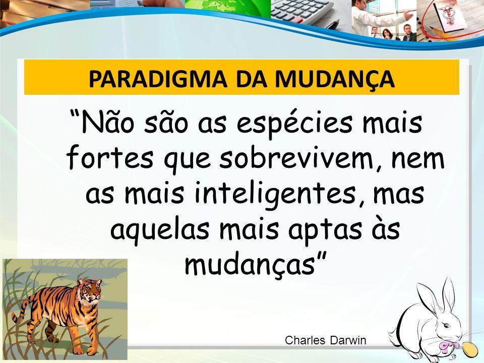 PARADIGMA DA MUDANÇA Não são as espécies mais fortes que sobrevivem, nem as mais inteligentes, mas aquelas mais aptas às mudanças