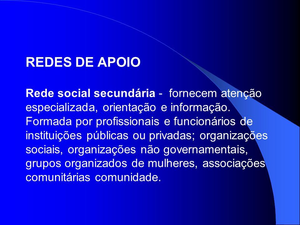 REDES DE APOIO Rede social secundária - fornecem atenção especializada, orientação e informação.