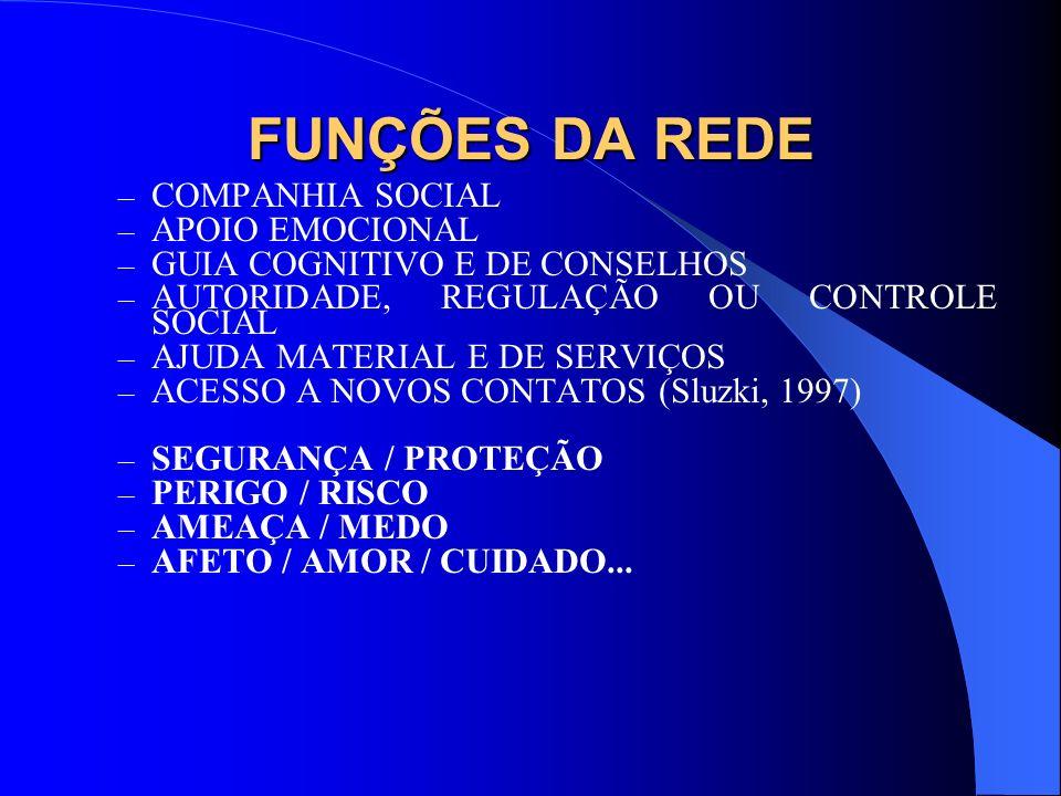FUNÇÕES DA REDE COMPANHIA SOCIAL APOIO EMOCIONAL