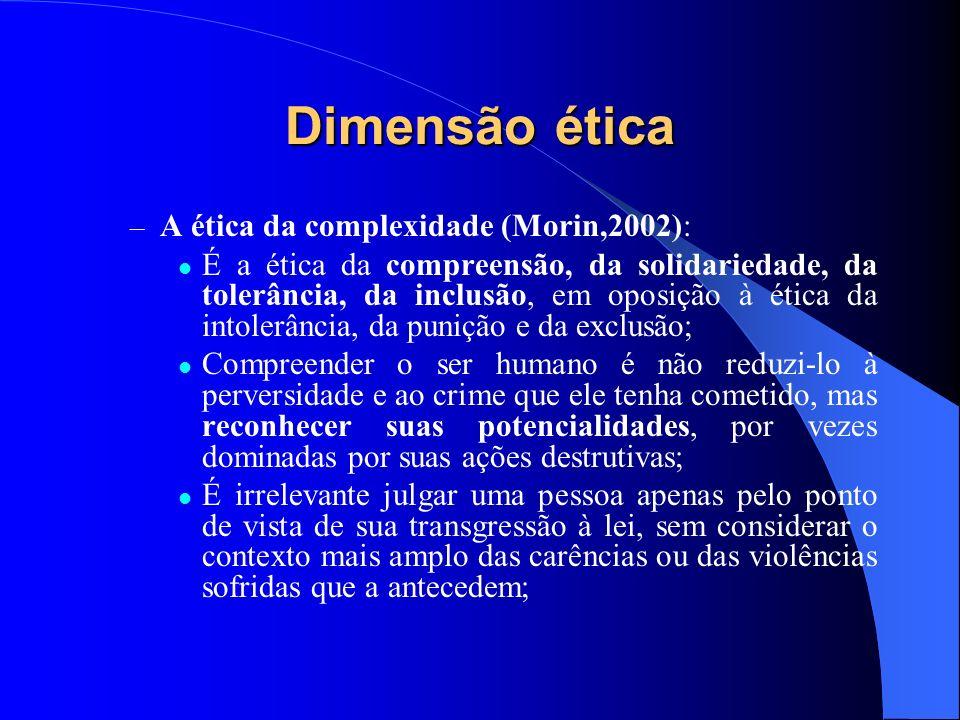 Dimensão ética A ética da complexidade (Morin,2002):