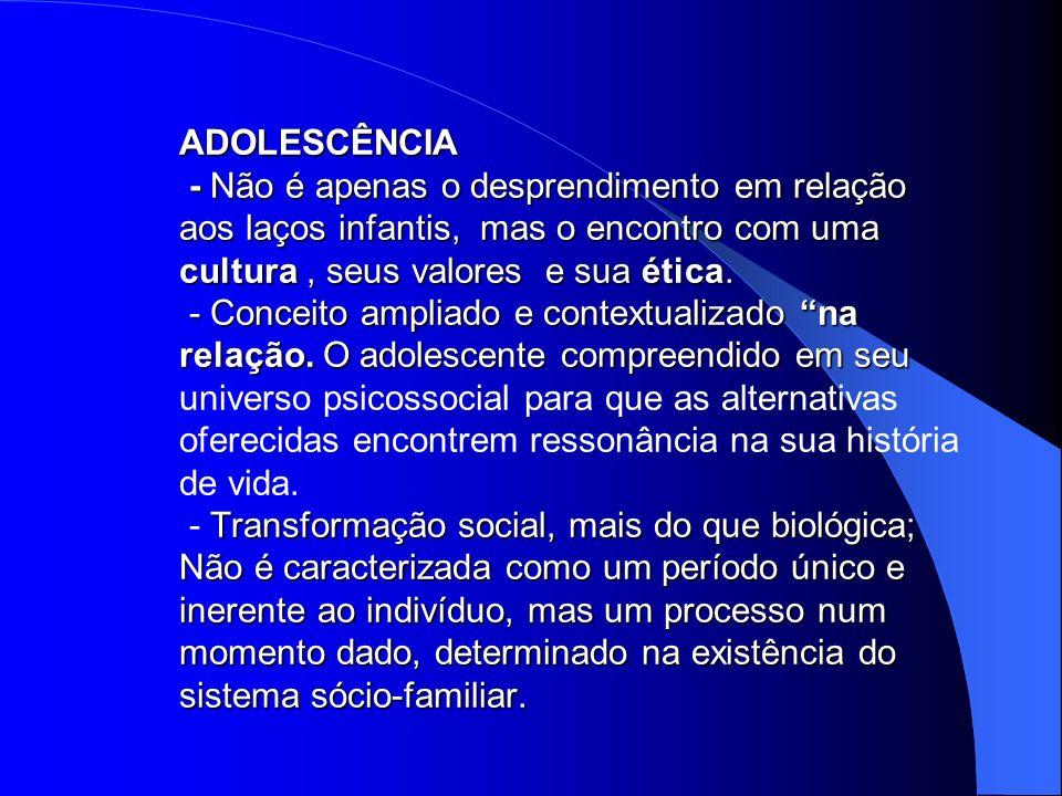 ADOLESCÊNCIA - Não é apenas o desprendimento em relação aos laços infantis, mas o encontro com uma cultura , seus valores e sua ética.
