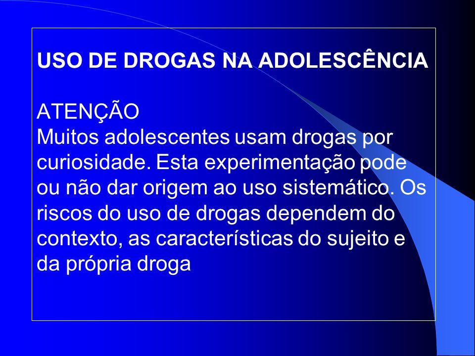 USO DE DROGAS NA ADOLESCÊNCIA ATENÇÃO Muitos adolescentes usam drogas por curiosidade.