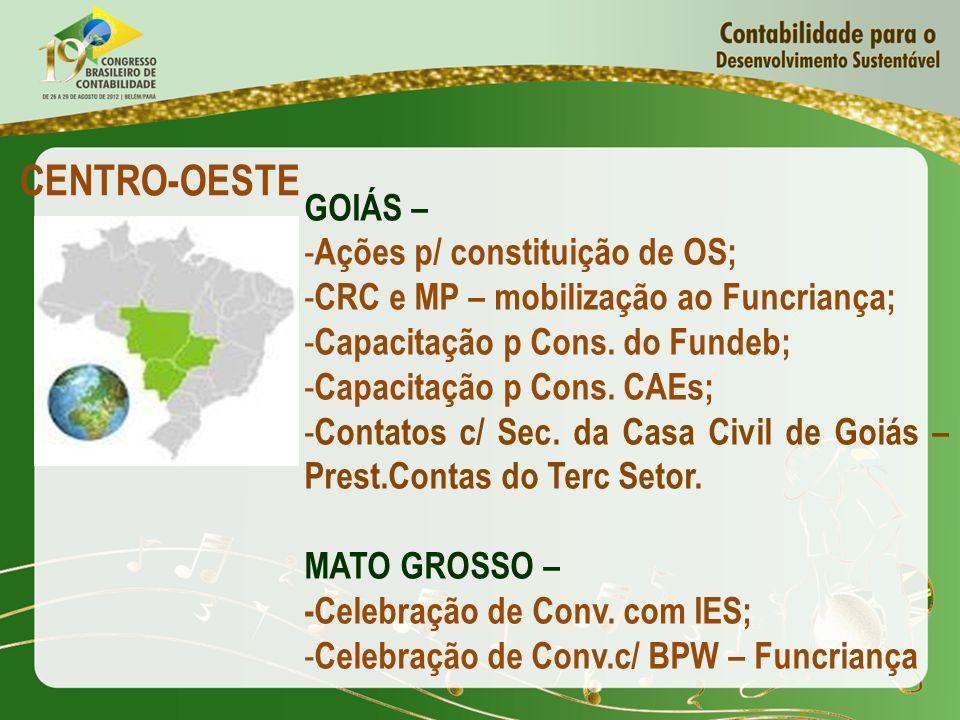 CENTRO-OESTE GOIÁS – Ações p/ constituição de OS;