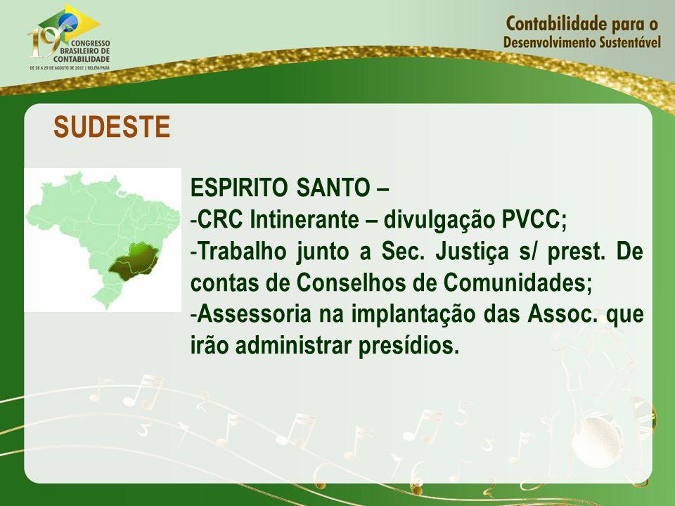 SUDESTE ESPIRITO SANTO – CRC Intinerante – divulgação PVCC;