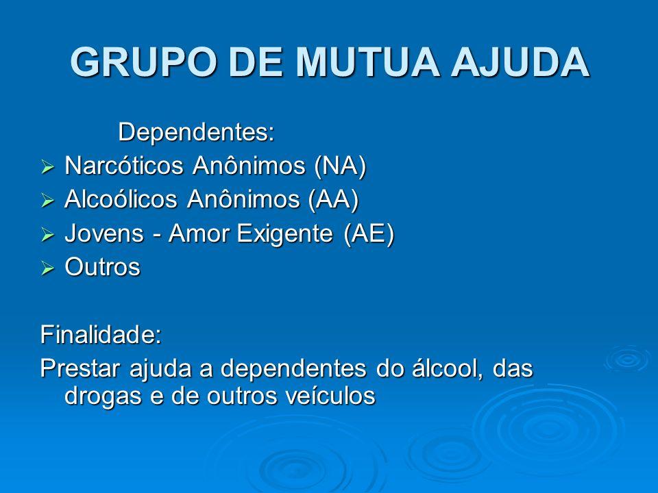 GRUPO DE MUTUA AJUDA Dependentes: Narcóticos Anônimos (NA)