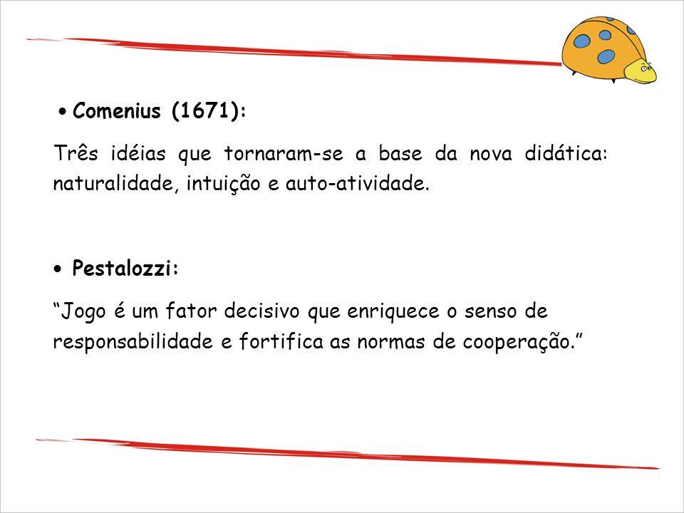 · Comenius (1671): Três idéias que tornaram-se a base da nova didática: naturalidade, intuição e auto-atividade.