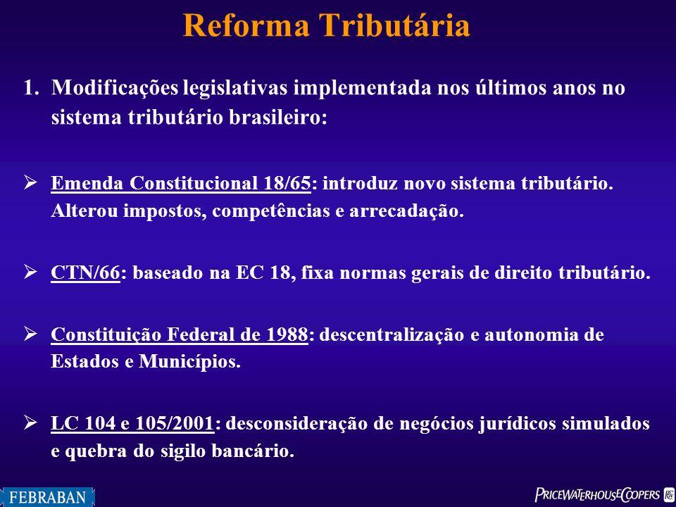 Reforma Tributária Modificações legislativas implementada nos últimos anos no sistema tributário brasileiro: