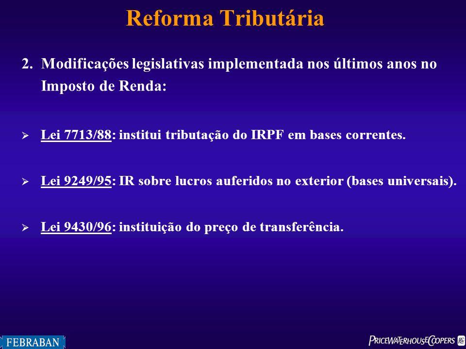 Reforma Tributária 2. Modificações legislativas implementada nos últimos anos no Imposto de Renda: