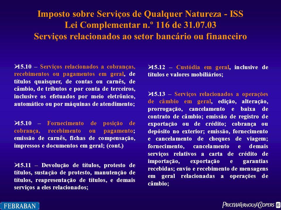 Imposto sobre Serviços de Qualquer Natureza - ISS Lei Complementar n