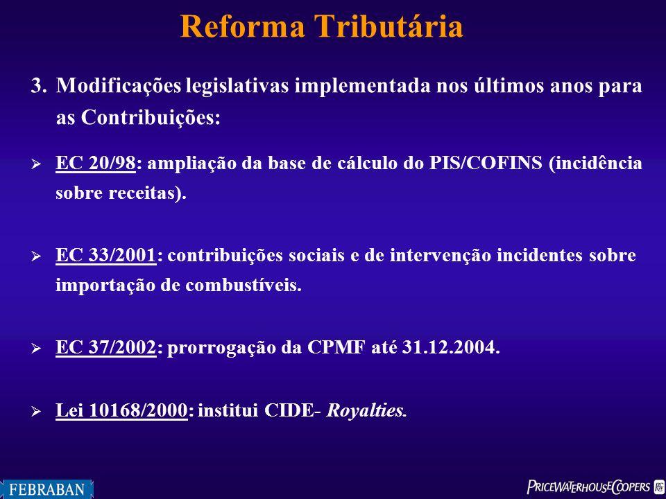 Reforma Tributária 3. Modificações legislativas implementada nos últimos anos para as Contribuições: