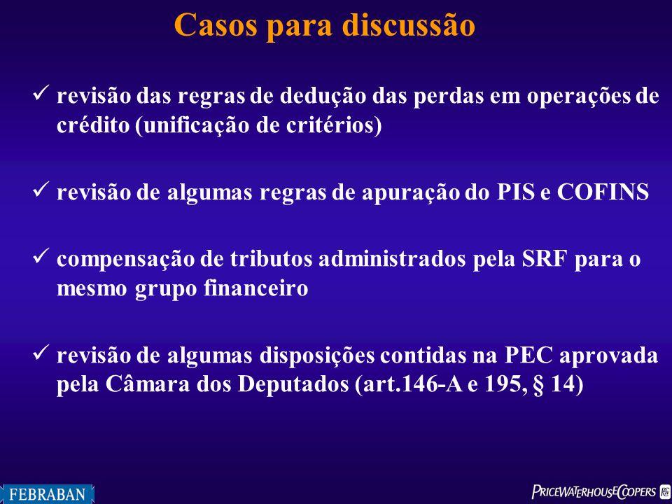 Casos para discussão revisão das regras de dedução das perdas em operações de crédito (unificação de critérios)
