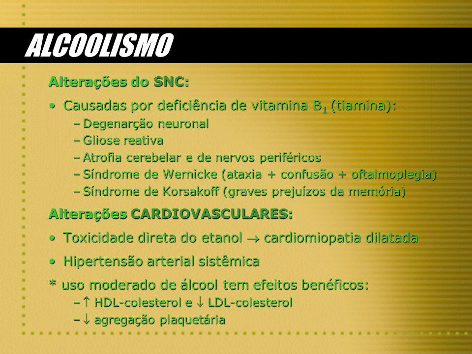 ALCOOLISMO Alterações do SNC:
