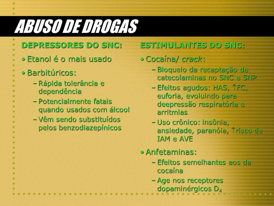 ABUSO DE DROGAS DEPRESSORES DO SNC: Etanol é o mais usado