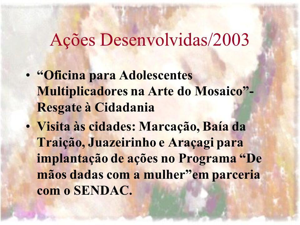 Ações Desenvolvidas/2003 Oficina para Adolescentes Multiplicadores na Arte do Mosaico - Resgate à Cidadania.