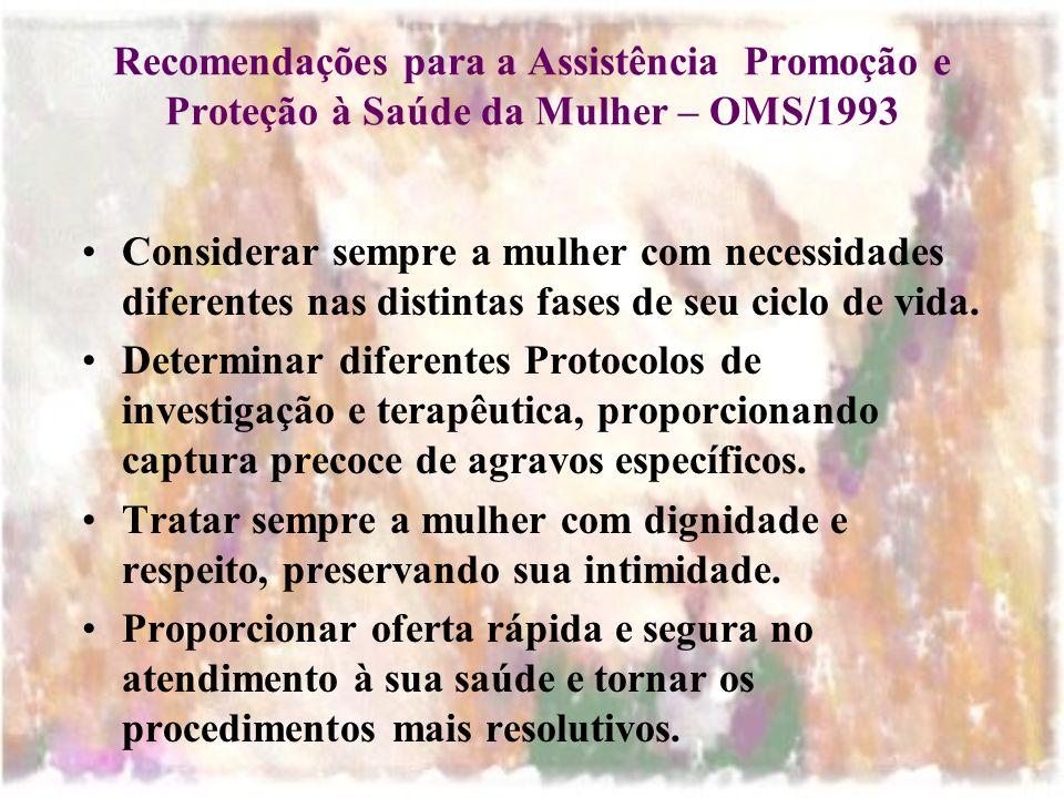 Recomendações para a Assistência Promoção e Proteção à Saúde da Mulher – OMS/1993
