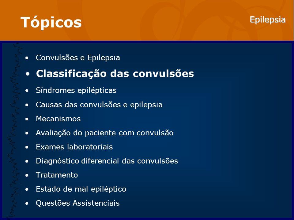 Tópicos Classificação das convulsões Convulsões e Epilepsia