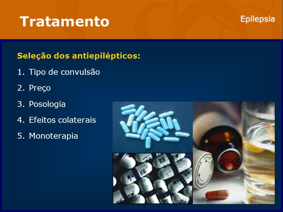 Tratamento Seleção dos antiepilépticos: Tipo de convulsão Preço