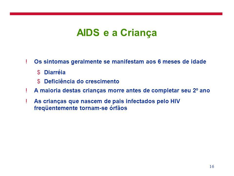 3/25/2017AIDS e a Criança. Os sintomas geralmente se manifestam aos 6 meses de idade. Diarréia. Deficiência do crescimento.