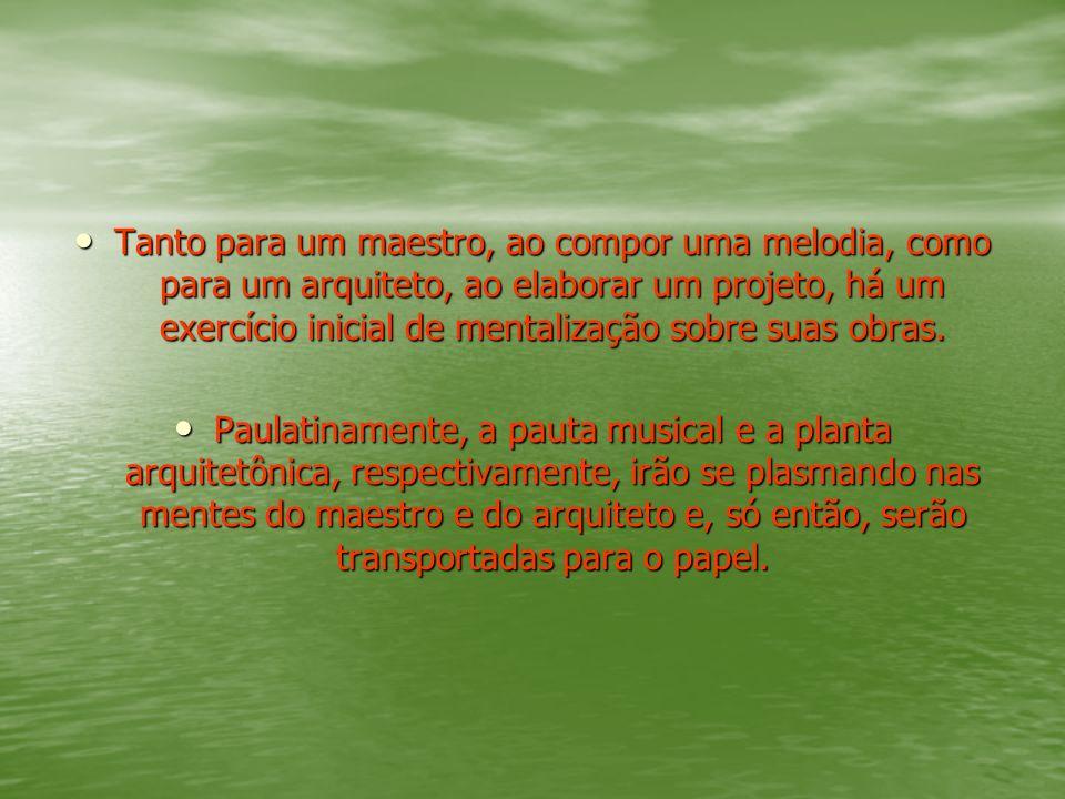 Tanto para um maestro, ao compor uma melodia, como para um arquiteto, ao elaborar um projeto, há um exercício inicial de mentalização sobre suas obras.