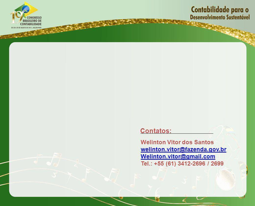 Contatos: Welinton Vitor dos Santos welinton.vitor@fazenda.gov.br