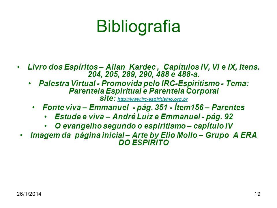 Bibliografia Livro dos Espíritos – Allan Kardec , Capítulos IV, VI e IX, Itens. 204, 205, 289, 290, 488 e 488-a.