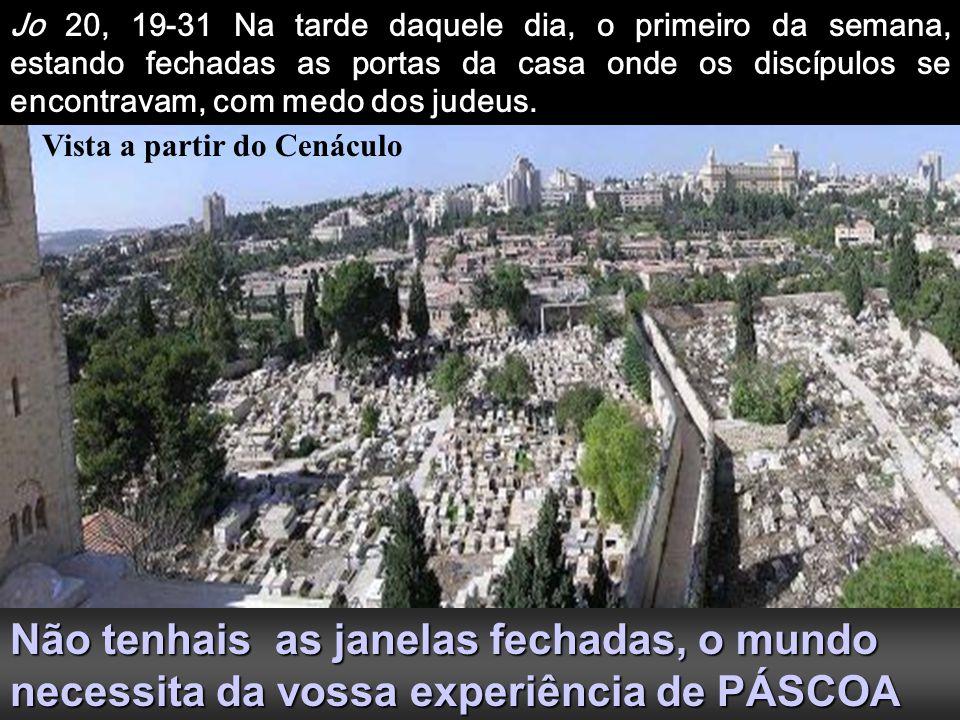 Jo 20, 19-31 Na tarde daquele dia, o primeiro da semana, estando fechadas as portas da casa onde os discípulos se encontravam, com medo dos judeus.