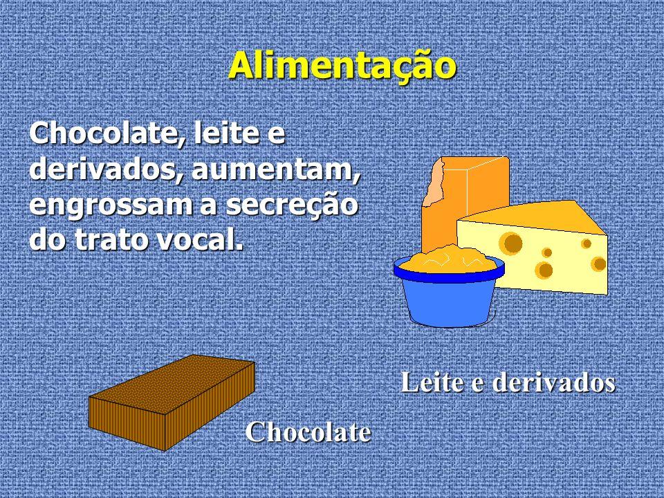 Alimentação Chocolate, leite e derivados, aumentam, engrossam a secreção do trato vocal. Leite e derivados.