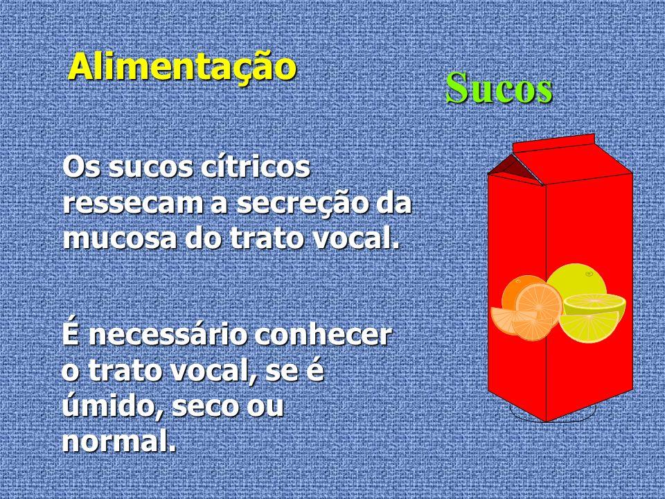 Alimentação Sucos. Os sucos cítricos ressecam a secreção da mucosa do trato vocal.