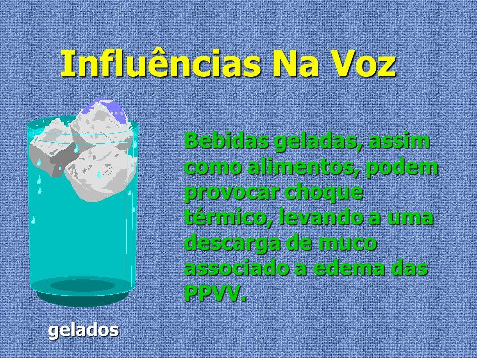 Influências Na Voz Bebidas geladas, assim como alimentos, podem provocar choque térmico, levando a uma descarga de muco associado a edema das PPVV.