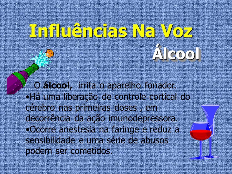 Influências Na Voz Álcool O álcool, irrita o aparelho fonador.