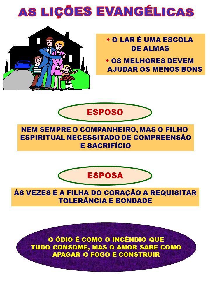 AS LIÇÕES EVANGÉLICAS ESPOSO ESPOSA  O LAR É UMA ESCOLA DE ALMAS