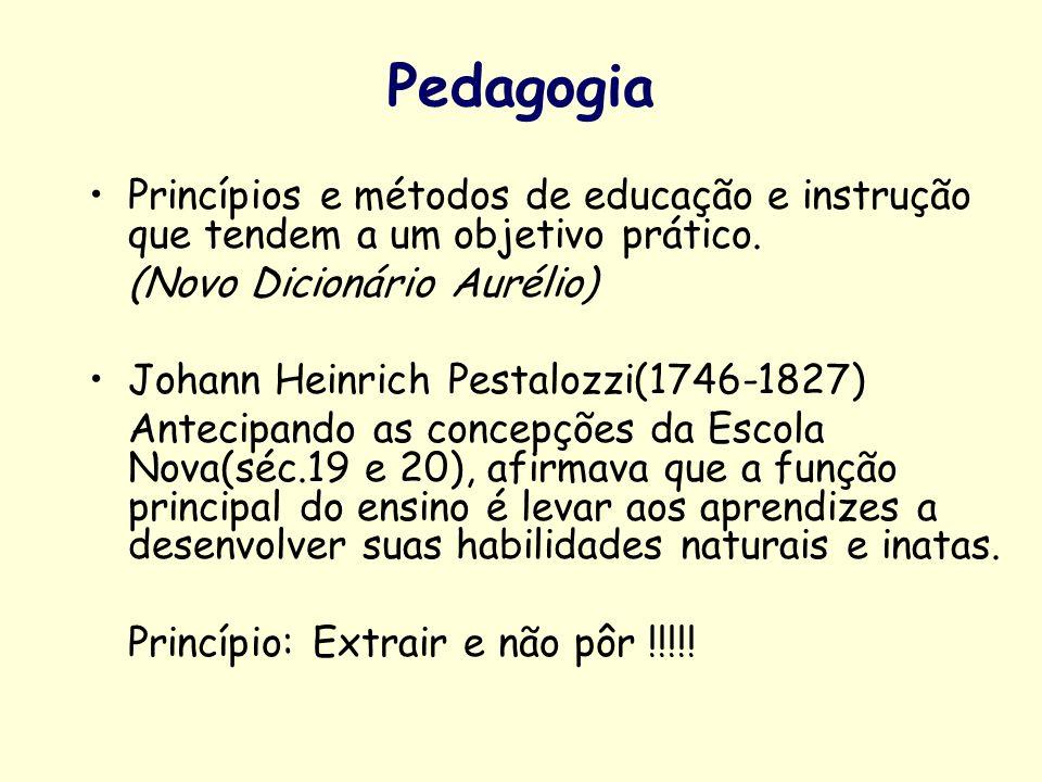 PedagogiaPrincípios e métodos de educação e instrução que tendem a um objetivo prático. (Novo Dicionário Aurélio)