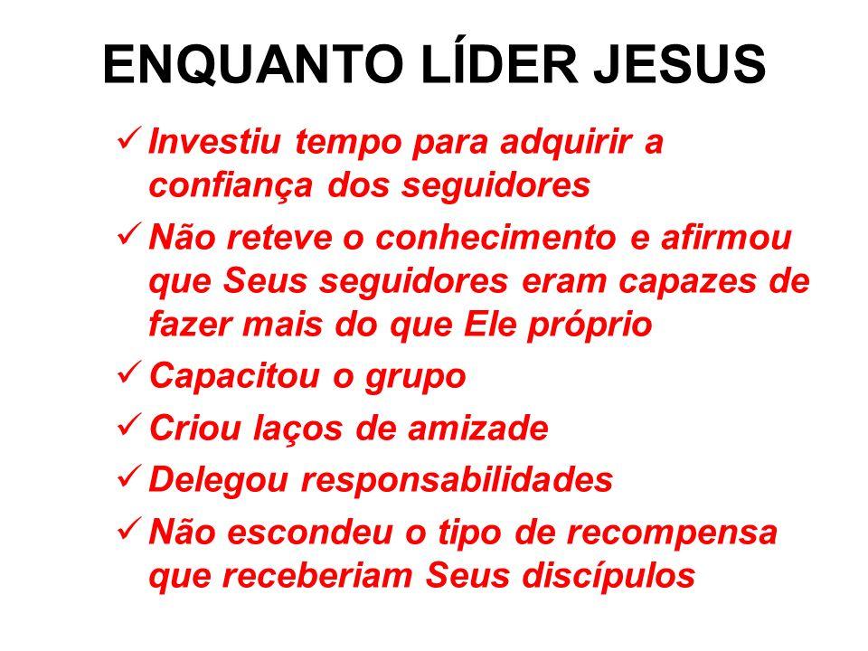 ENQUANTO LÍDER JESUSInvestiu tempo para adquirir a confiança dos seguidores.