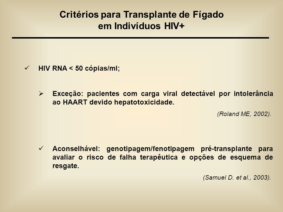 Critérios para Transplante de Fígado