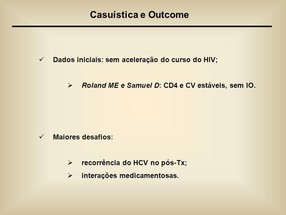 Casuística e Outcome Dados iniciais: sem aceleração do curso do HIV;