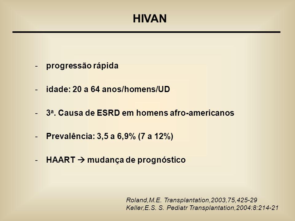 HIVAN progressão rápida idade: 20 a 64 anos/homens/UD