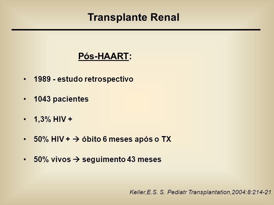 Transplante Renal Pós-HAART: 1989 - estudo retrospectivo