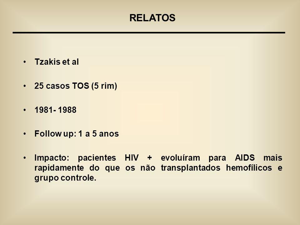 RELATOS Tzakis et al 25 casos TOS (5 rim) 1981- 1988