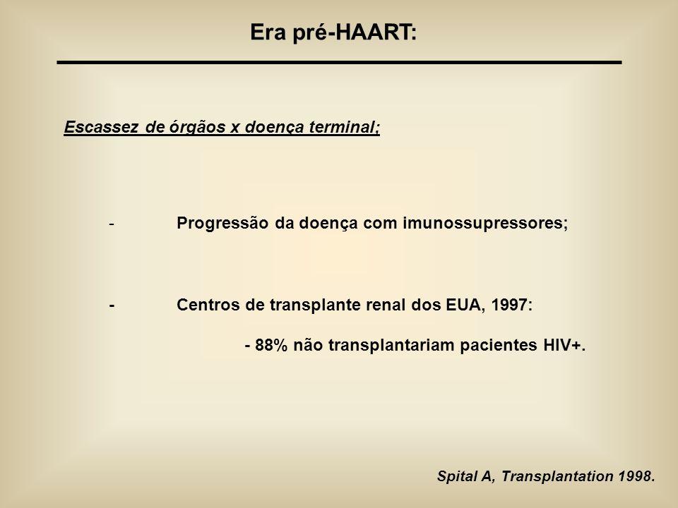 Era pré-HAART: Escassez de órgãos x doença terminal;