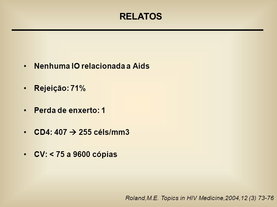 RELATOS Nenhuma IO relacionada a Aids Rejeição: 71%