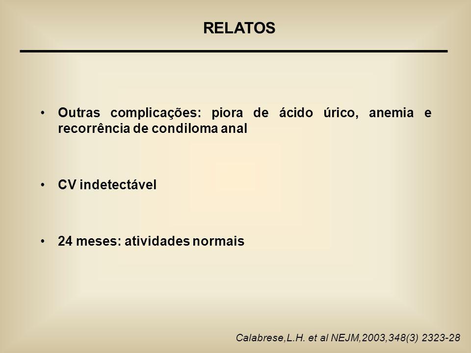 RELATOS Outras complicações: piora de ácido úrico, anemia e recorrência de condiloma anal. CV indetectável.