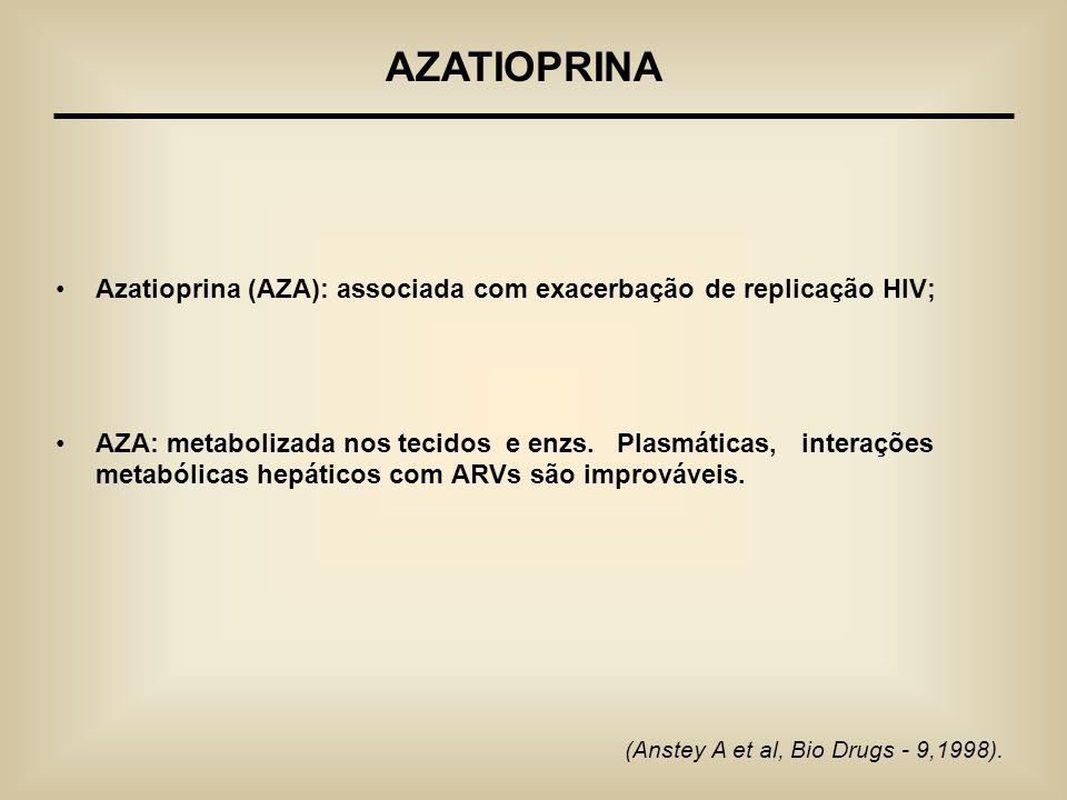 AZATIOPRINA Azatioprina (AZA): associada com exacerbação de replicação HIV;