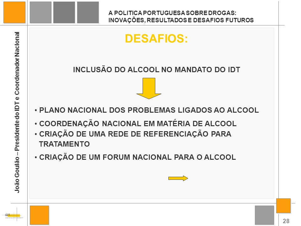 INCLUSÃO DO ALCOOL NO MANDATO DO IDT