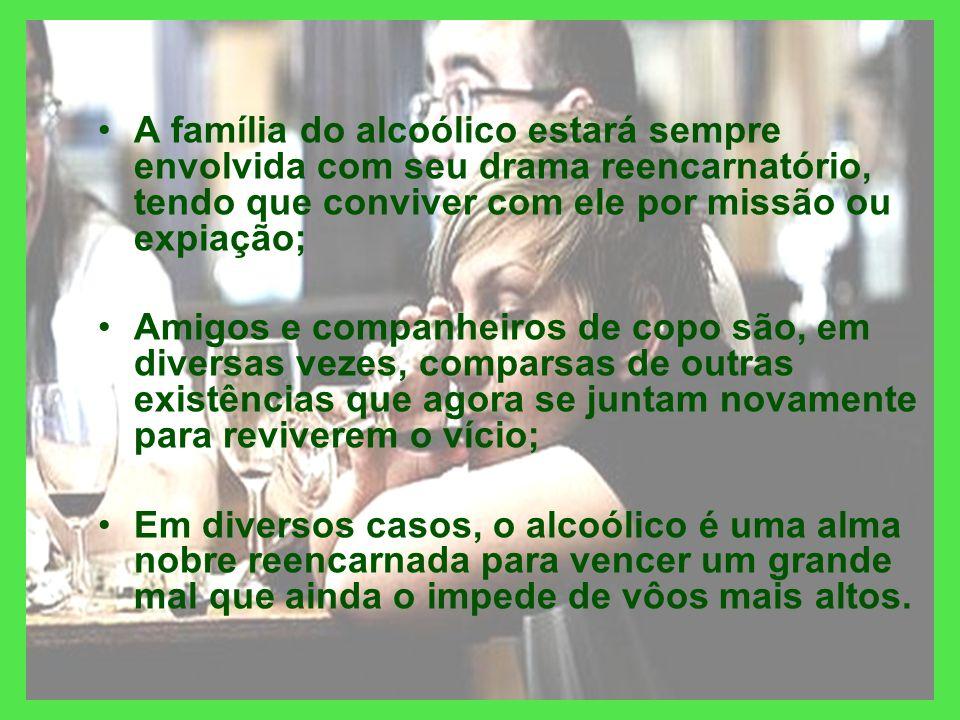 A família do alcoólico estará sempre envolvida com seu drama reencarnatório, tendo que conviver com ele por missão ou expiação;